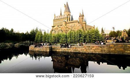 Osaka, Japan - Dec 02, 2017: The Wizarding World of Harry Potter in Universal Studios Japan. Universal Studios Japan is a theme park in Osaka, Japan.The phylum of the pig eagle