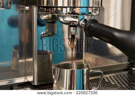 Coffee machine. Preparation of invigorating drink.  Reflection