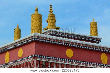 Top of a Tibetan Buddhist temple in Bodh Gaya, India.