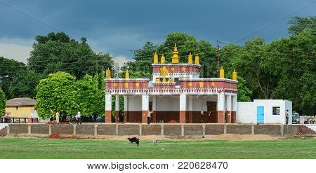 Bodhgaya, India - Jul 9, 2015. A Tibetan Buddhist temple in Bodhgaya, India. Bodh Gaya is considered one of the most important Buddhist pilgrimage sites.