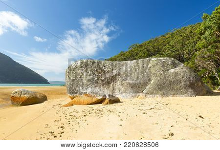 Granite boulder on Sealers Cove beach, Wilsons Promontory National Park, Victoria, Australia