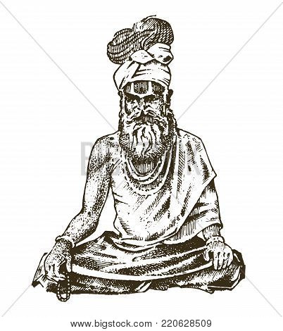 Hindu in national dress. Indian spiritual monk meditating and landmark or architecture. Traditional religious sadhu. engraved hand drawn in old sketch, vintage style