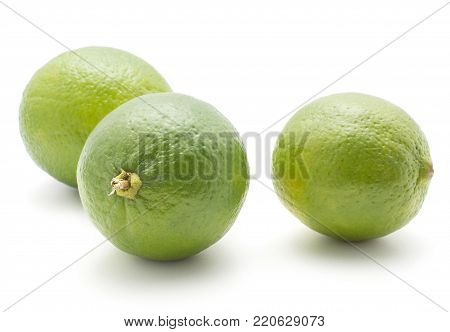 Three limes set isolated on white background ripe fresh
