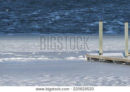 Salt water freezing along Fairhaven, Massachusetts shoreline during lengthening cold spell