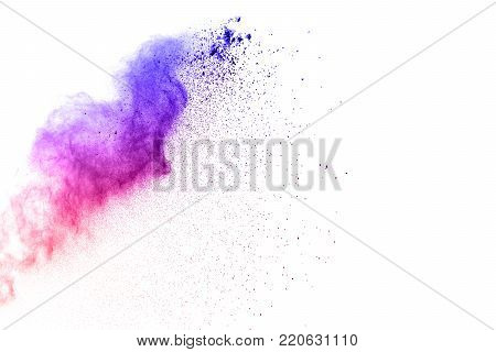 Abstract Blue-red Dust Explosion On  White Background. Abstract Blue-red Powder Splattered On White