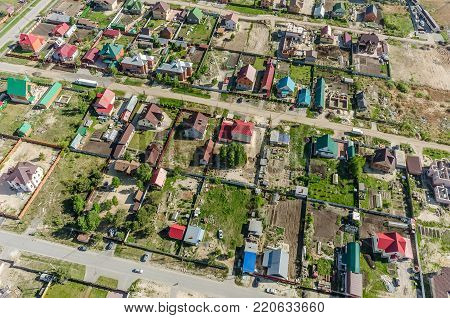 Borovskiy, Russia - May 25, 2015: Aerial view onto Novaya Ozernaya - New Lake street. Near federal highway Tyumen-Omsk