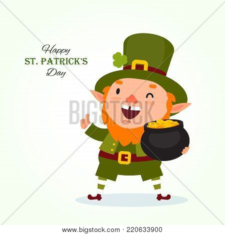 St.Patrick 's Day. Leprechaun with a pot of gold coins. Traditional national character of Irish folklore. Element of the set of leprechauns 04. Festive collection. Isolated on white background
