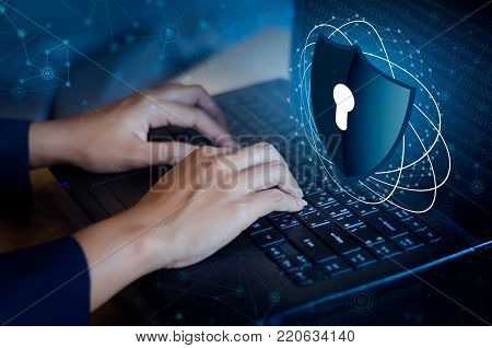 Press Enter Button On The Keyboard Computer Shield Cyber Key Lock Security System Abstract Technolog