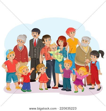 illustration of a big happy family of thirteen people - great-grandfather, great-grandmother, grandfather, grandmother, dad, mom, daughters and sons - posing together