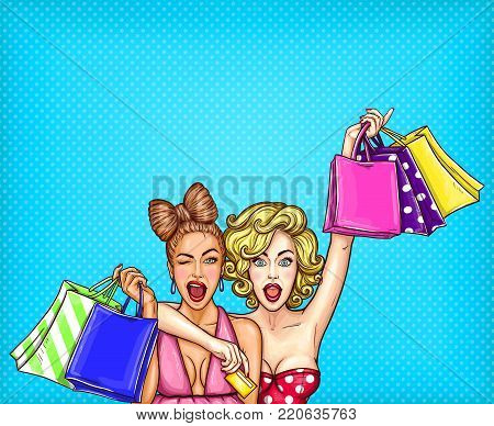 pop art illustration of two young glamorous enthusiastic girls show shopping bags with their purchases. Poster for the advertising discounts and sales