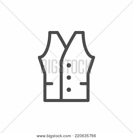Vest line icon isolated on white. Vector illustration