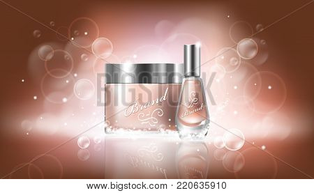 poster in realistic style with transparent glass cosmetic containers for lotion, hand cream and cuticle remover, nail polish on a beige background with Bokeh effect