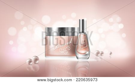 poster in realistic style with transparent glass cosmetic containers for lotion, hand cream and cuticle remover, nail polish on a light beige background with pearls