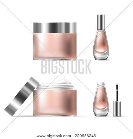 illustration of a realistic style of transparent glass cosmetic containers with open silver lid. Jar for lotion, hand cream and cuticle remover, nail polish