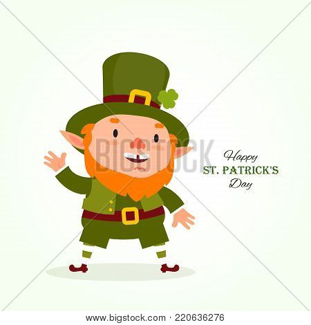 St.Patrick 's Day. Leprechaun , Traditional national character of Irish folklore. Element of the set of leprechauns 05. Festive collection. Isolated on white background.