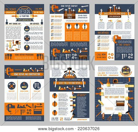 House repair and home construction posters set of handyman work tools. Vector renovation carpentry drill, saw or hammer, woodwork grinder and plastering trowel or interior design decor paint brush