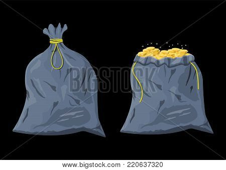 Sack with gold coins. Cloth fabric money bag. Stacks of golden coins. Concept of savings, donation, paying. Vector illustration in flat style