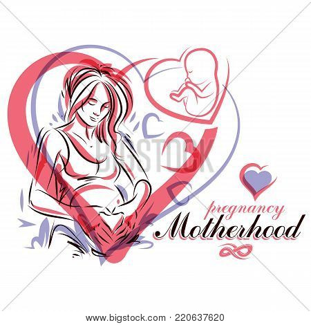Elegant pregnant woman body silhouette drawing. Vector illustration of mother-to-be fondles her belly. Neonatal care center advertising poster