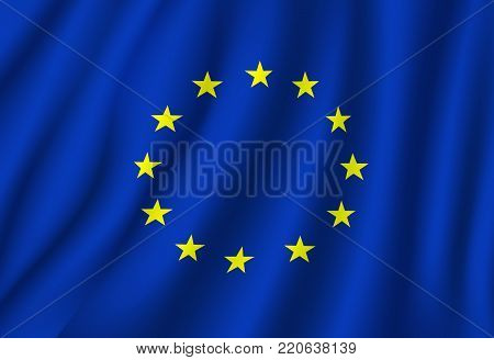 European Union flag vector on wavy fabric. Vector EU or Europe Council official flag and symbol of yellow gold stars and blue field background on flagpole