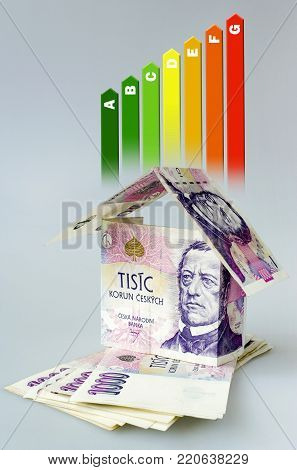 Energy efficiency label for house / heating and money savings - house made of Czech crown currency banknotes