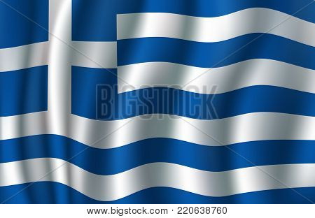 Flag of Greece 3d illustration with greek blue and white banner. European country national symbol vector concept for travel, geography of Europe and tourism themes design