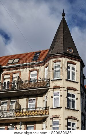 Art Nouveau facade and turret of the building  in Poznan