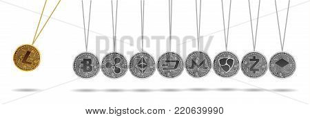 Newton cradle made of gold ethereum and silver crypto currencies isolated on white background. Litecoin accelerates other crypto currencies. Vector illustration. Use for logos, print products