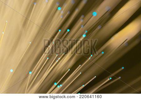 Blue optical fibre close up macro shot for background image .