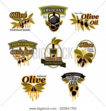 Olive oil icons of green and black olives for extra virgin product bottle packing label design template. Best quality organic cooking oil drops on jar and olive leaf. Vector isolated set
