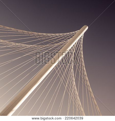 Pylon of cable-stayed bridge with cables forming a fan-like pattern