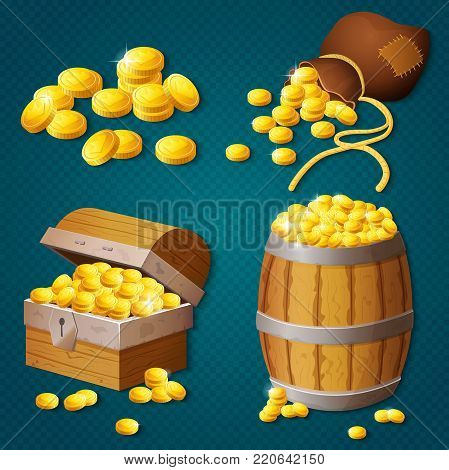 Old wooden chest, barrel, old bag with gold coins. Game style treasure vector illustration