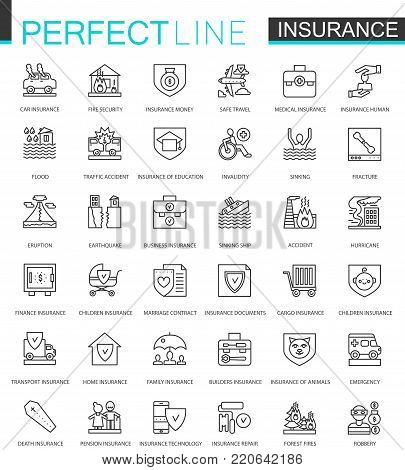 Insurance thin line web icons set. Car, house, health, life insurance outline stroke icons design