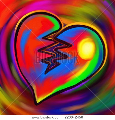 A colorful and vibrant digital painting of a broken heart.