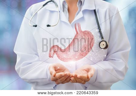 Doctor supports the human stomach . The concept of treatment and care digestion.