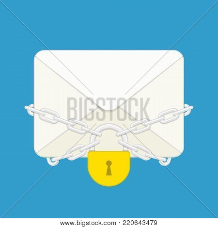 Envelope with with steel chain and lock. Letter and padlock in flat style. Confidential Mail or Protection e-mail concept. Vector illustration EPS 10.