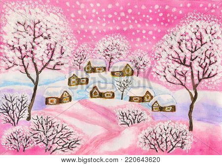 Hand painted Christmas picture, winter landscape with houses and trees in pink colours, used watercolour, gouache, acrylic.