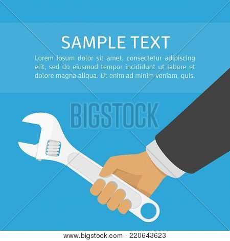 Hand holding spanner, illustration in flat style. Adjustable wrench in hands of the man. Technical service, repairs concept. Vector EPS 10.