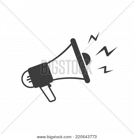 Megaphone icon in flat style. Bullhorn sign isolated on white background. Social media, promotion or marketing concept. Vector illustration EPS 10.