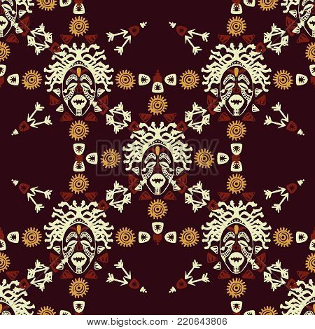 Hand drawn vector seamless pattern with Tribal mask ethnic. Sketch for your design, wallaper, textile, print. African culture. Fabric afro ornament. Coloful batik art. Brown colors dark background