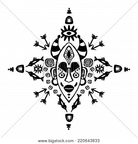 Hand drawn vector pattern with Tribal mask ethnic. Sketch for your design, wallaper, textile, print. African culture. Fabric afro ornament. batik art. Black colors on white . Card