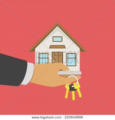 Real estate agent holding home in hands and key on finger. Buying or selling a house concept. Offer of purchase house or rental concept. Vector illustration in flat style. EPS 10.