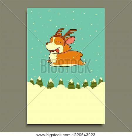 Vector New Year dog on winter forest background. Welsh corgi dog. for christmas, New Year poster, flyer, greeting card, holiday, celebration, party, pet shop shelter pharmacy decoration.