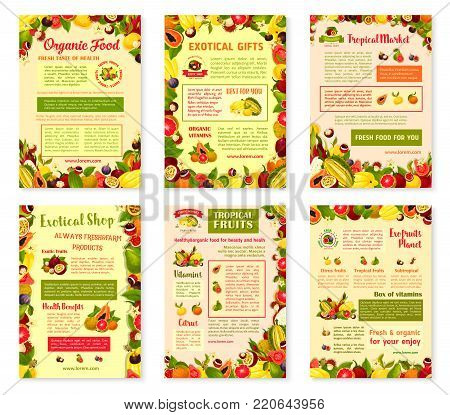 Exotic fruits posters or brochure template of tropic fruit harvest. Vector design of tropical papaya, passion fruit maracuya or figs and durian, farm juicy lychee or organic pitahaya and carambola