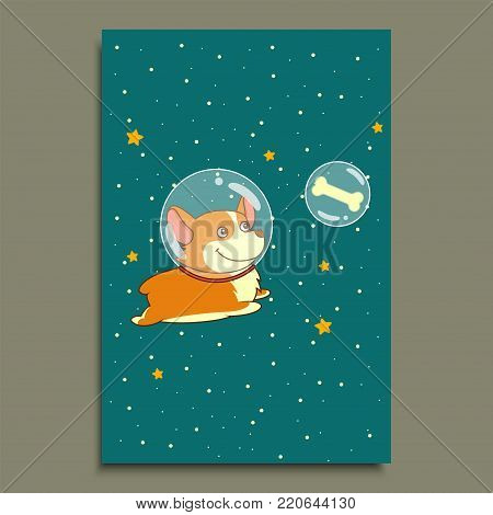 Cute smiling dog dressed in spacesuit is flying in outer space using, on starry space background. Science and fiction concept, Postcard template vector illustration.