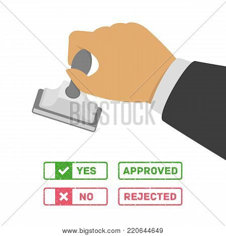 Stamp in hand with various options of marks - yes, no, approved and rejected. Business man stamping approving or disapproving stamps. Vector illustration in flat style. EPS 10.