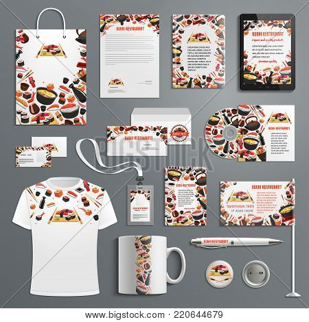 Japanese cuisine or Asian sushi restaurant advertising promo item branding templates. Vector branded apparel and office stationery set of t-shirt apparel, business card, flag, mug cup and paper bag