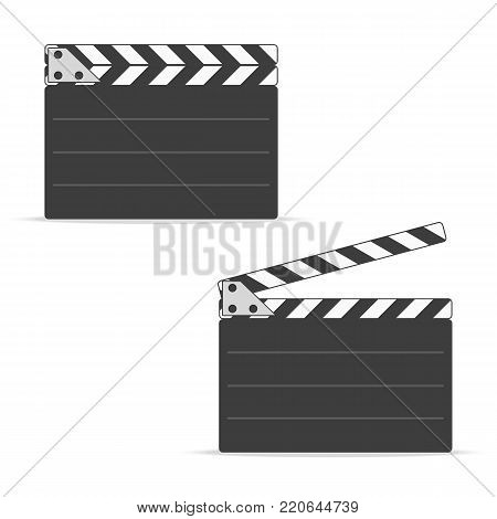 Close and open movie clapper board icon, in flat style. EPS 10.