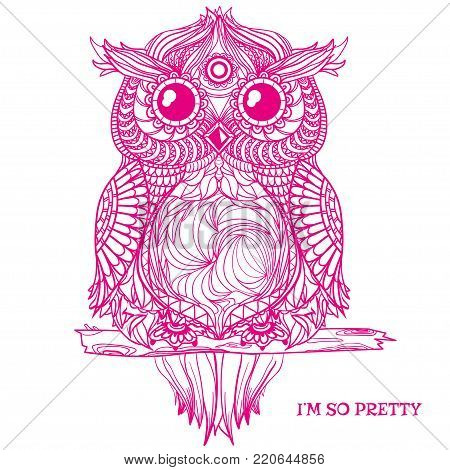 Owl. Design Zentangle. Detailed hand drawn vintage owl with abstract patterns on isolation background. Zen art. Owl sits on tree branch. Graphic design.