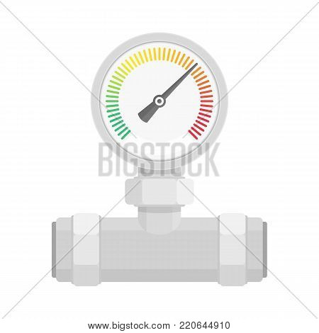 Manometer on water pipe in flat style isolated on white background. Pressure sensor, gauge tool icon on factory pipeline. Vector illustration. EPS 10.