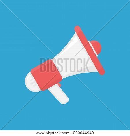 Icon of megaphone isolated on background. Social media or marketing concept. Loudspeaker sign. Vector illustration in flat style. EPS 10.